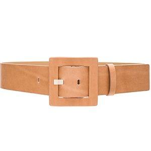 Alice + Olivia Square Buckle Leather Belt-Tan NWT